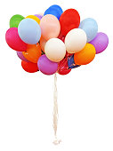 Bouquet of colorful balloons Isolated with Clipping Path