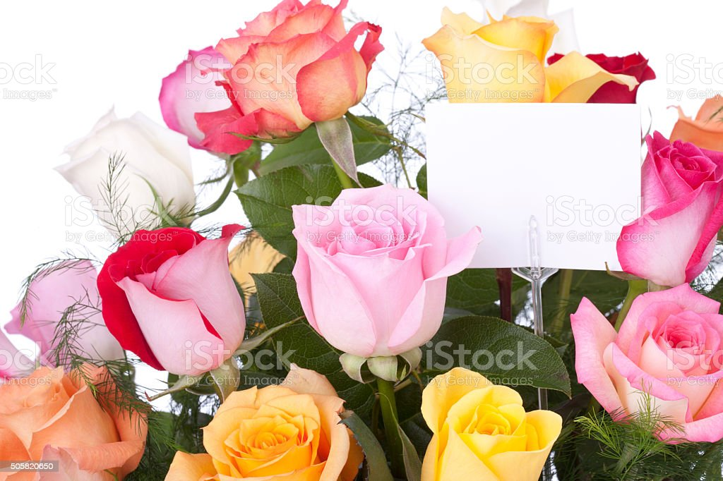 Bouquet of colorful roses with blank card for your message stock photo