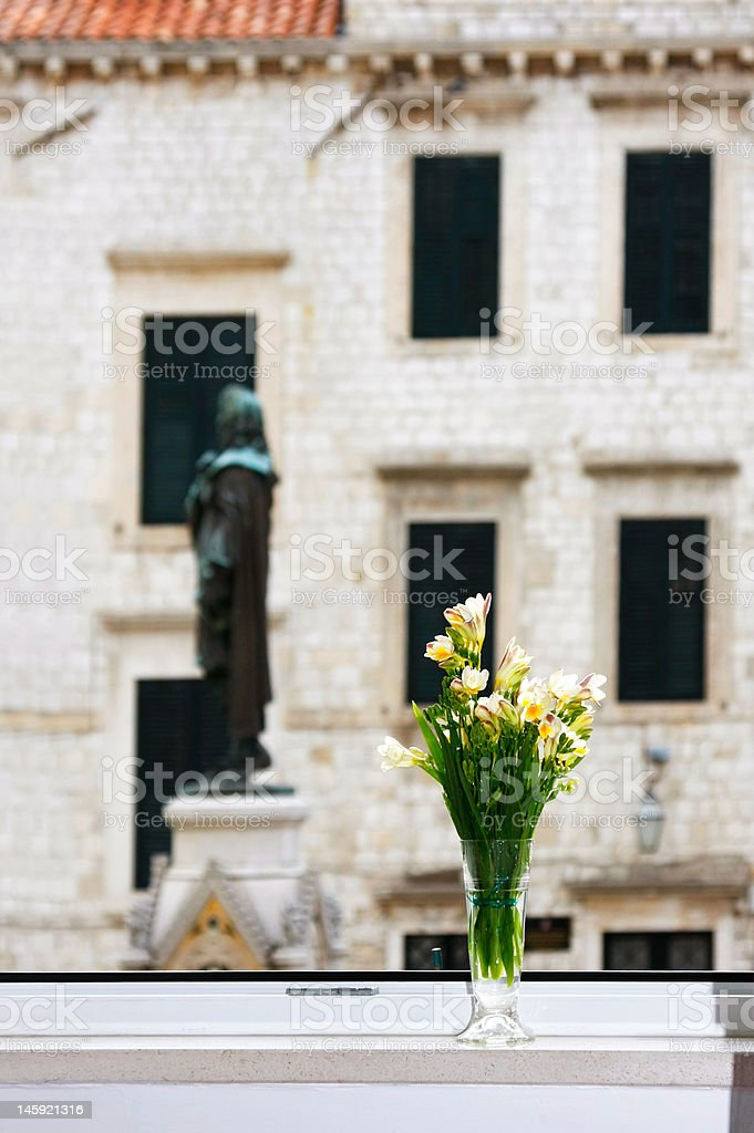 Bouquet of crocuses in vase royalty-free stock photo