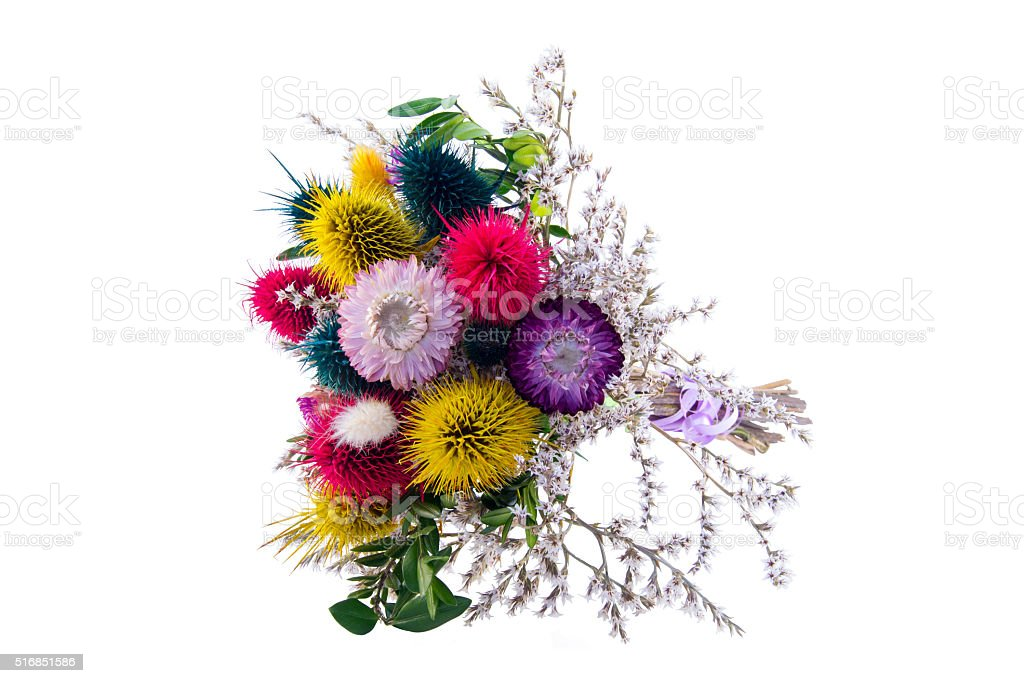 Bouquet of dried flowers stock photo