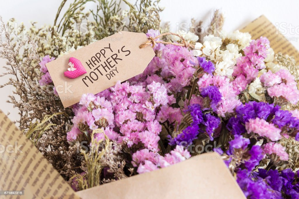 Bouquet of dried flowers with mothers day card stock photo