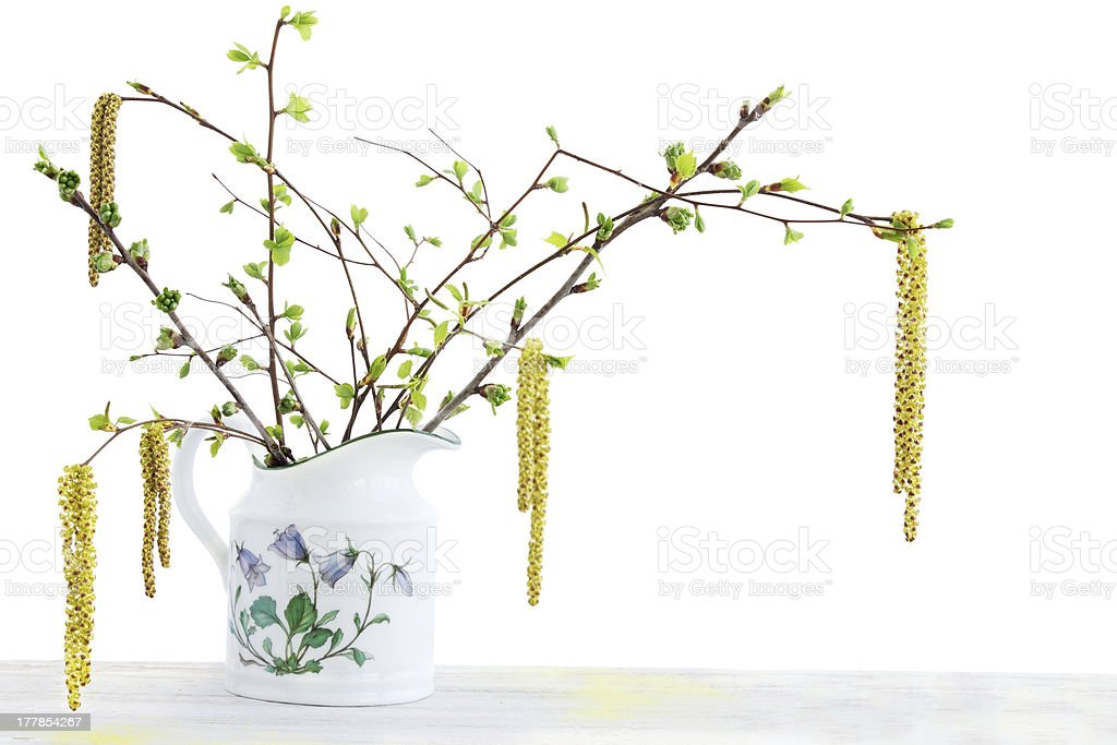 Bouquet of flowering branches stock photo
