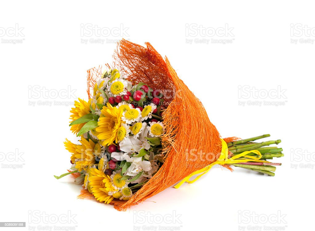 Bouquet of flowers  isolated on white background stock photo