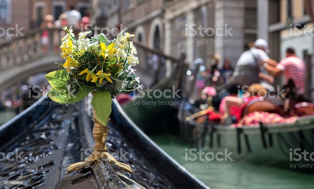 Bouquet of flowers on the nose of the nacelle stock photo