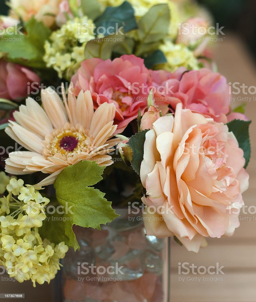 Bouquet of Flowers, Spring Silk Roses Arrangement, Vase Table Centerpiece royalty-free stock photo