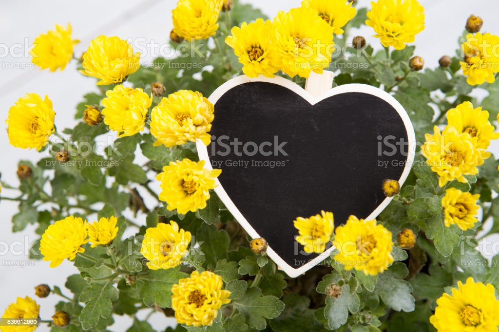 bouquet of flowers with a blunk signboard heart stock photo