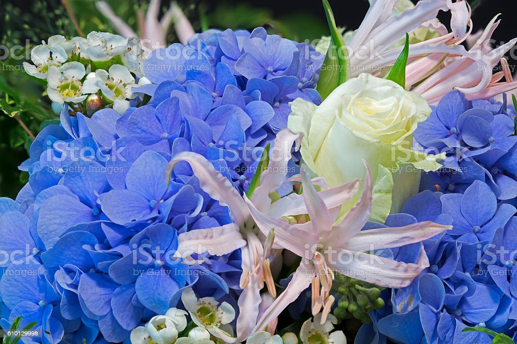 Bouquet of flowers with blue Hydrangea stock photo