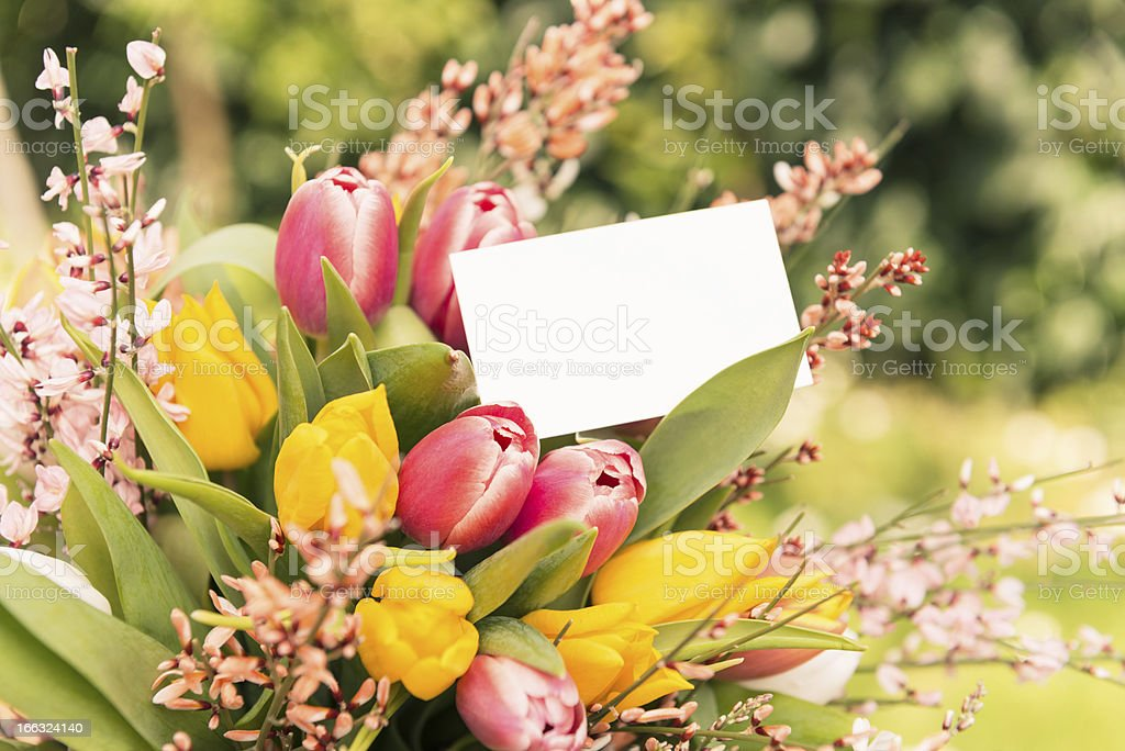bouquet of flowers with greetings card royalty-free stock photo