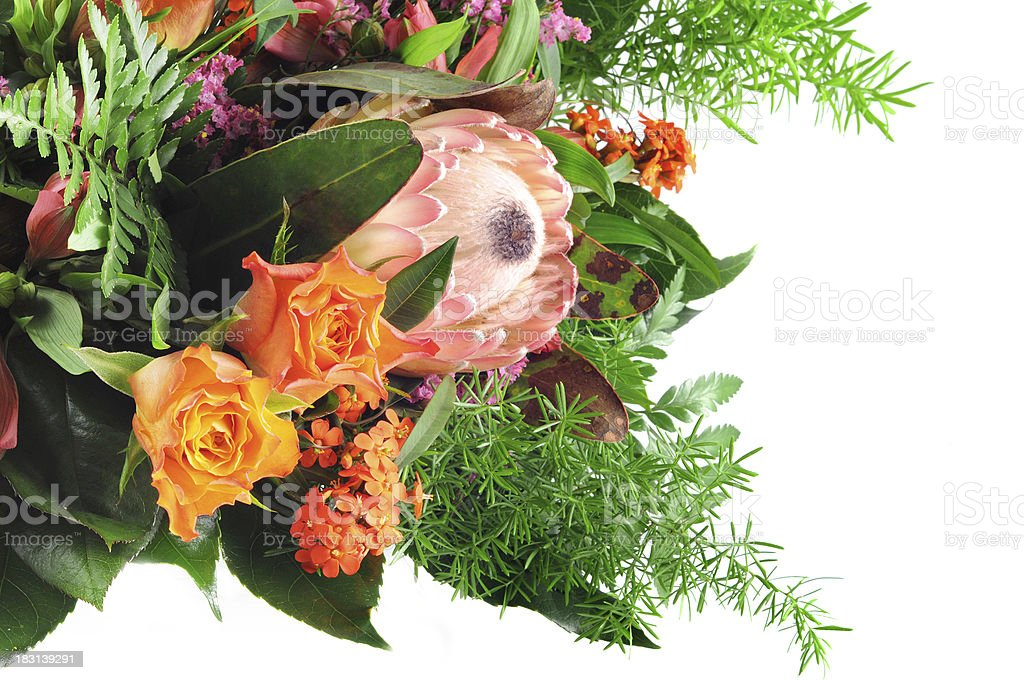 Bouquet of flowers with roses and protea sugarbushes stock photo