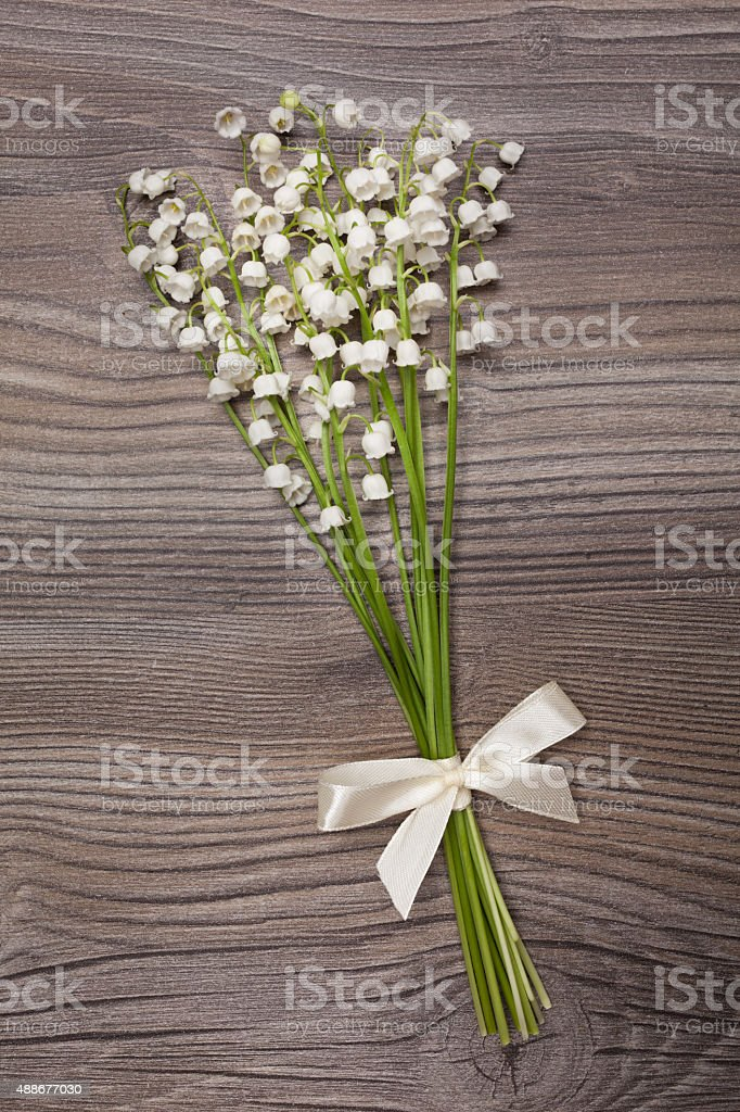 Bouquet of lily of the valley lies on a background. stock photo