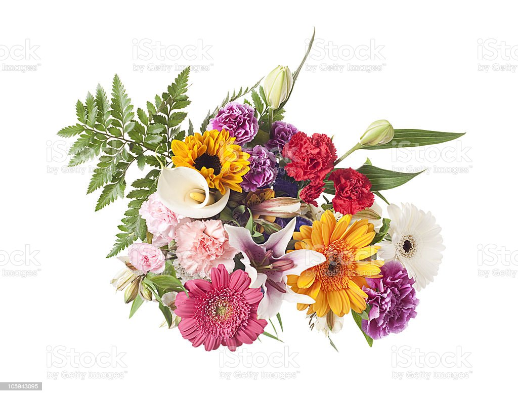 Bouquet of mixed spring and summer flowers stock photo