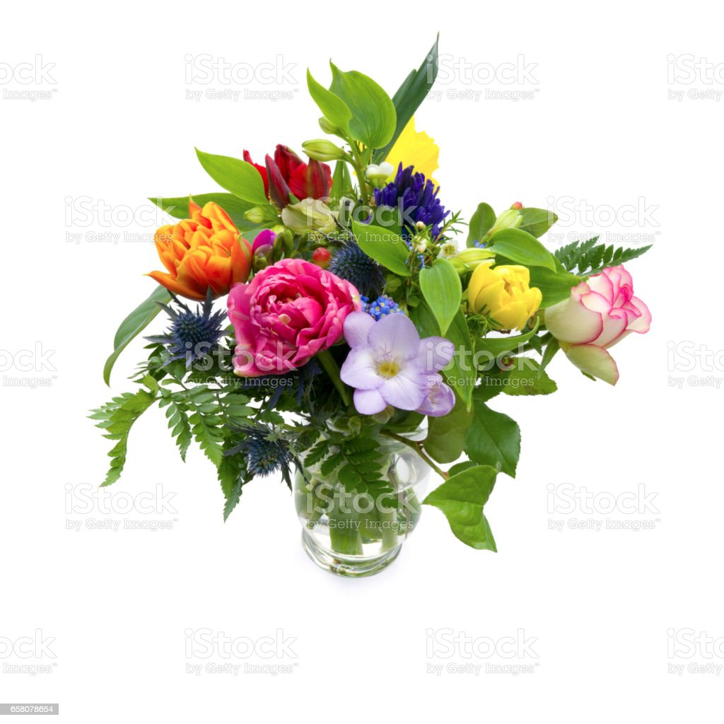 Bouquet of multicolored flowers of different species on white background stock photo