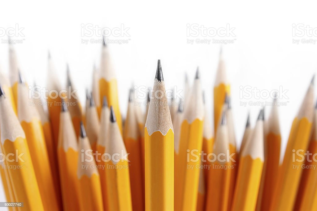 Bouquet of newly sharpened pencils stock photo