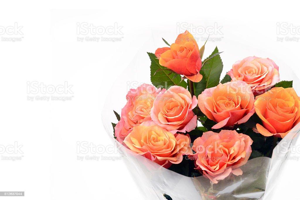 Bouquet of orange roses. stock photo