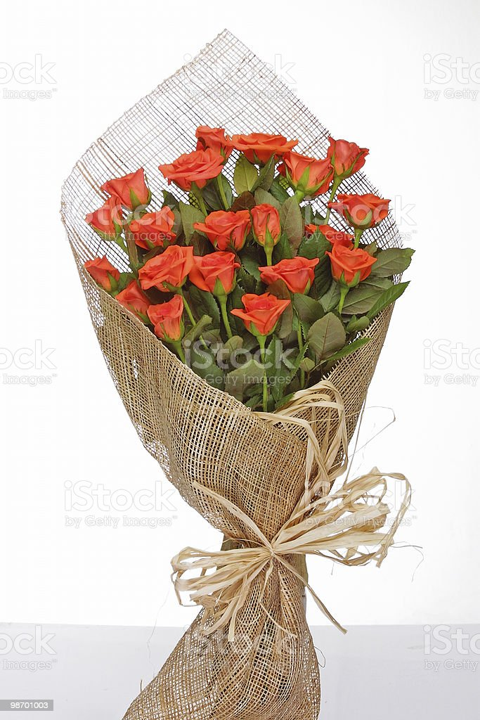bouquet of orange roses royalty-free stock photo
