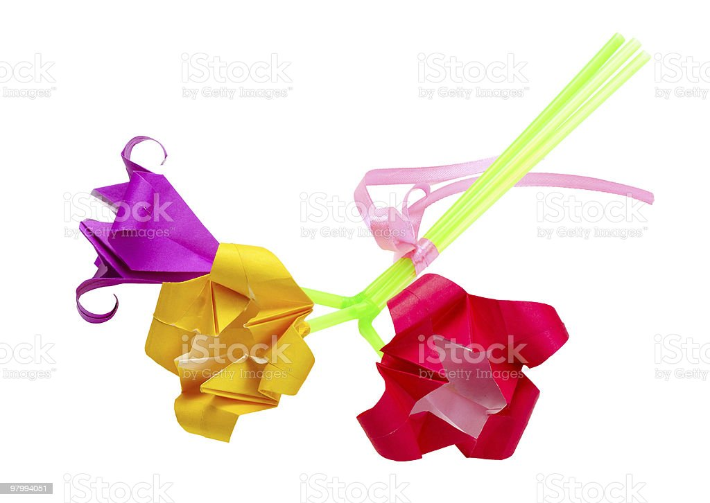 Bouquet of paper flowers stock photo