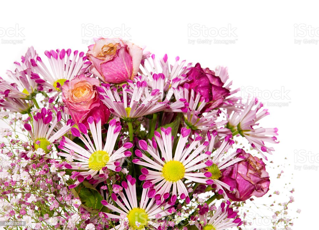 Bouquet of pink flowers  isolated on white. stock photo