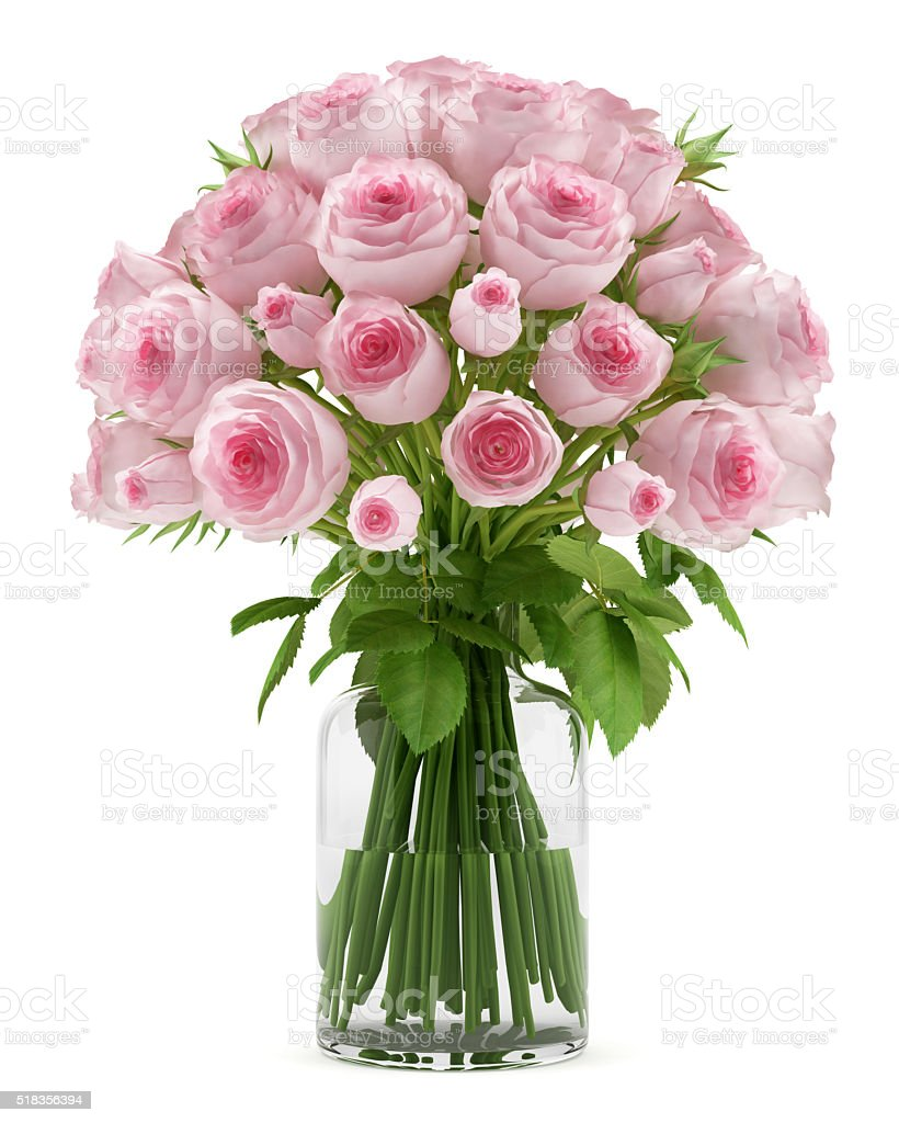 bouquet of pink roses in glass vase isolated on white stock photo