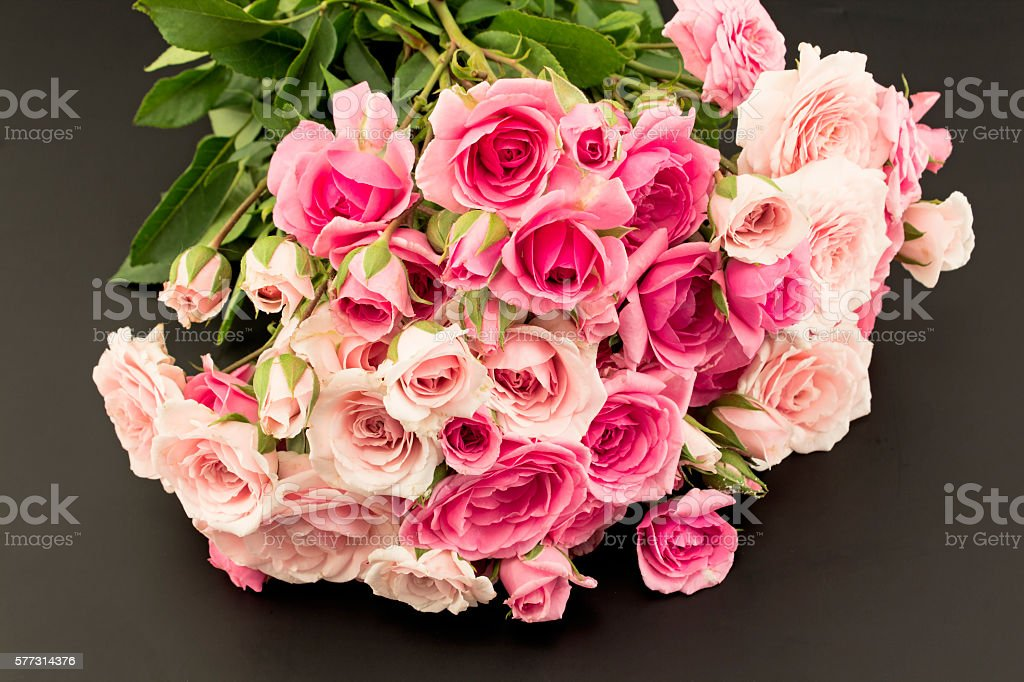 Bouquet of Pink Roses Isolated on Black stock photo