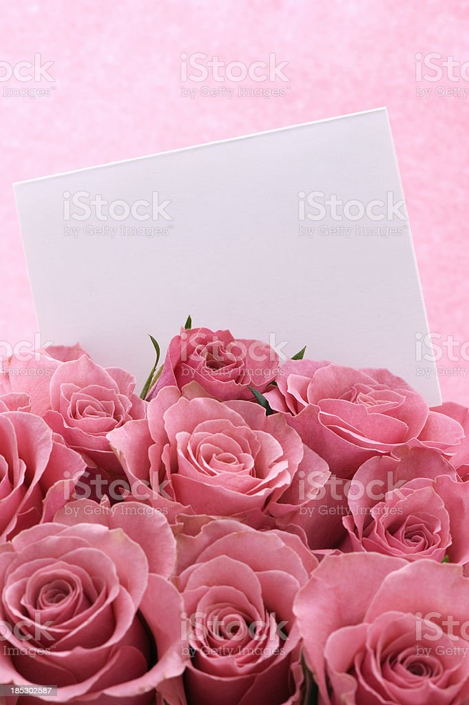 Bouquet of Pink Roses With White Card royalty-free stock photo