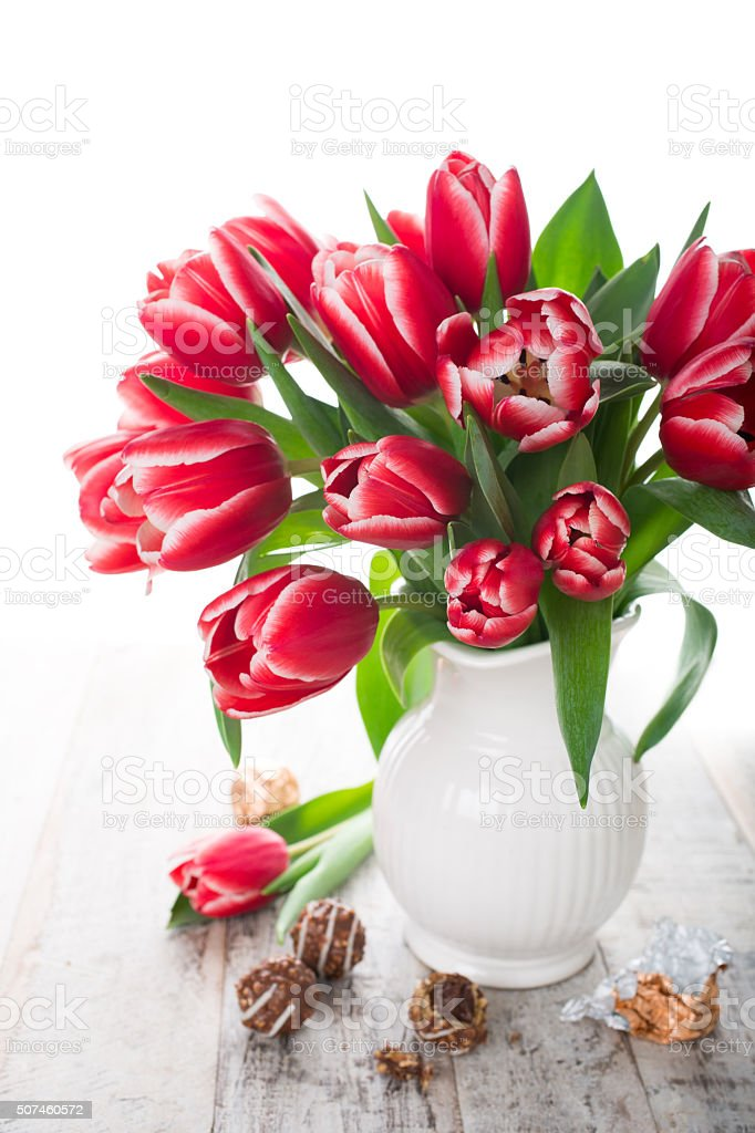 Bouquet of pink tulips in vase on the white background stock photo