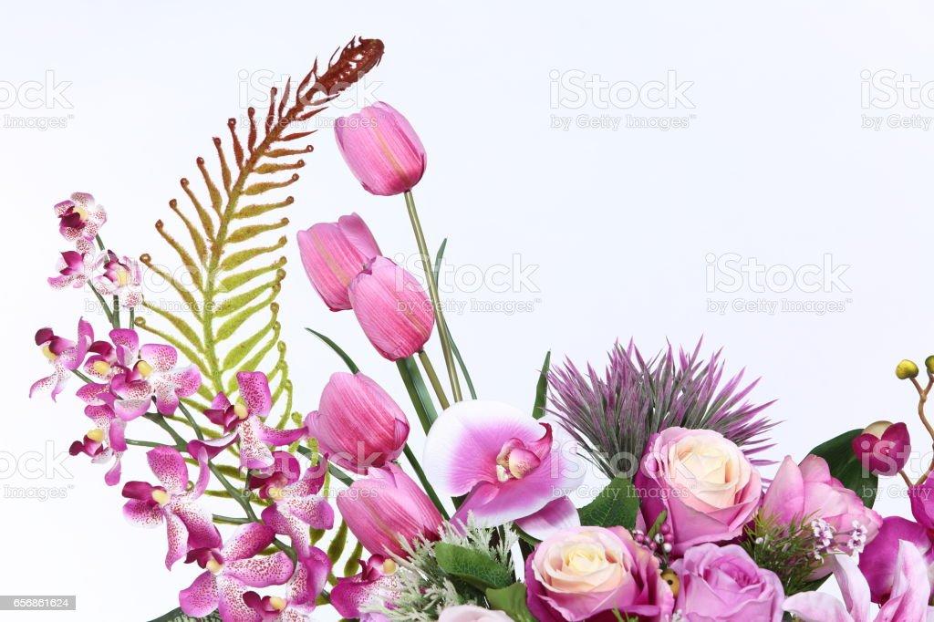 Bouquet of Purple many kind of flower on roman column jar Artificial stock photo