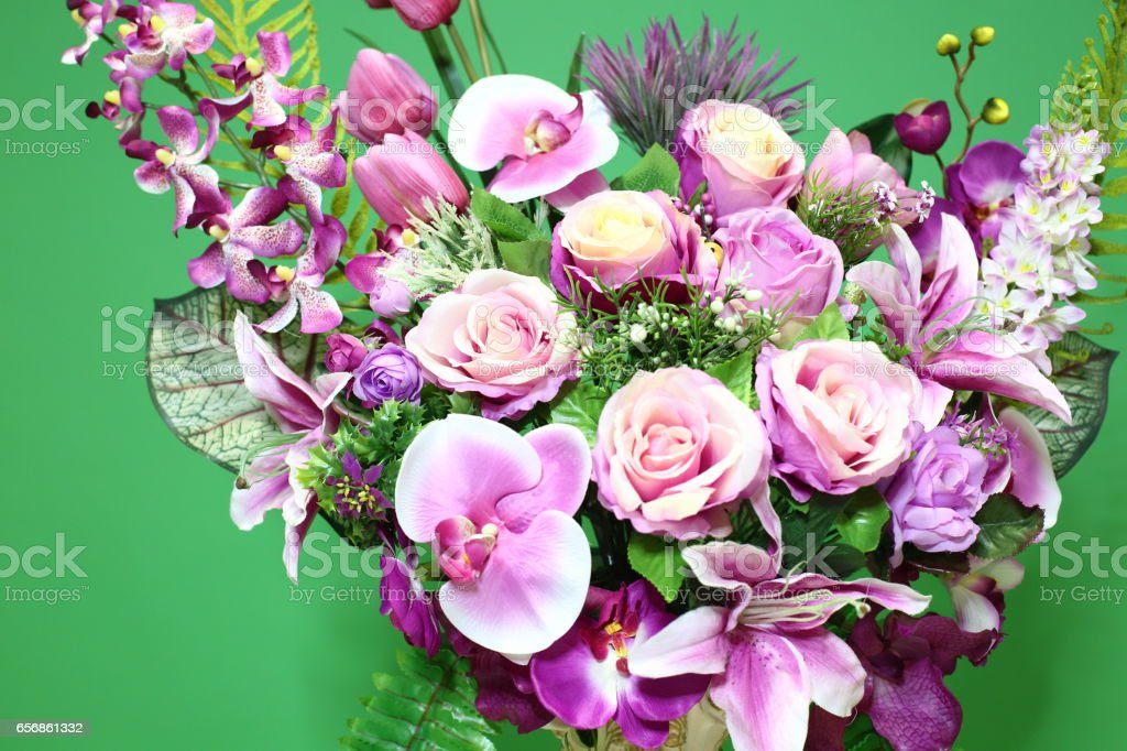 Bouquet of Purple shade group flower rose stock photo