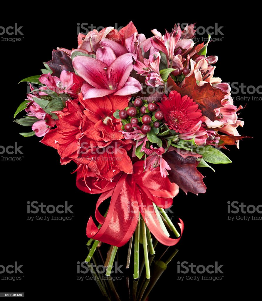 Bouquet of red and purple flowers on a black background  stock photo