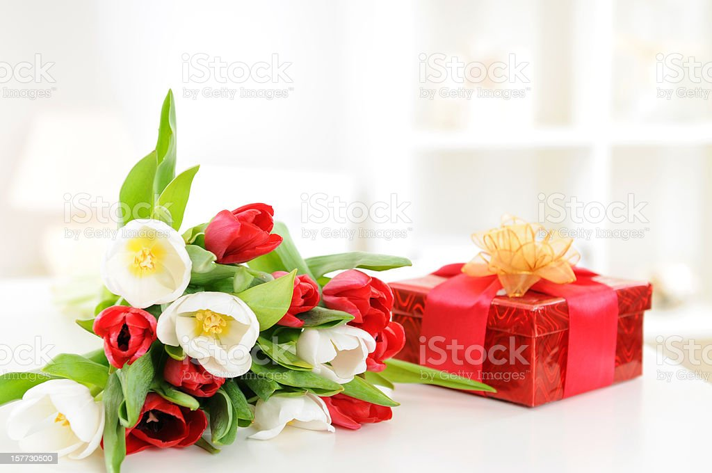 A bouquet of red and white tulips and a red gift box royalty-free stock photo