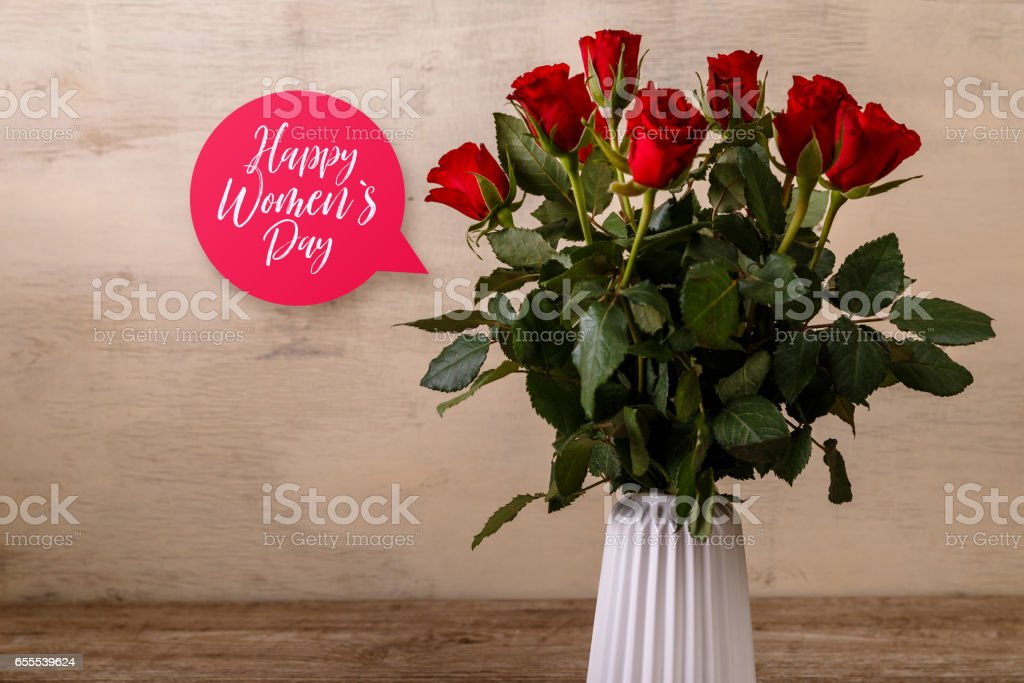 Bouquet of red roses. Happy Womens day. stock photo