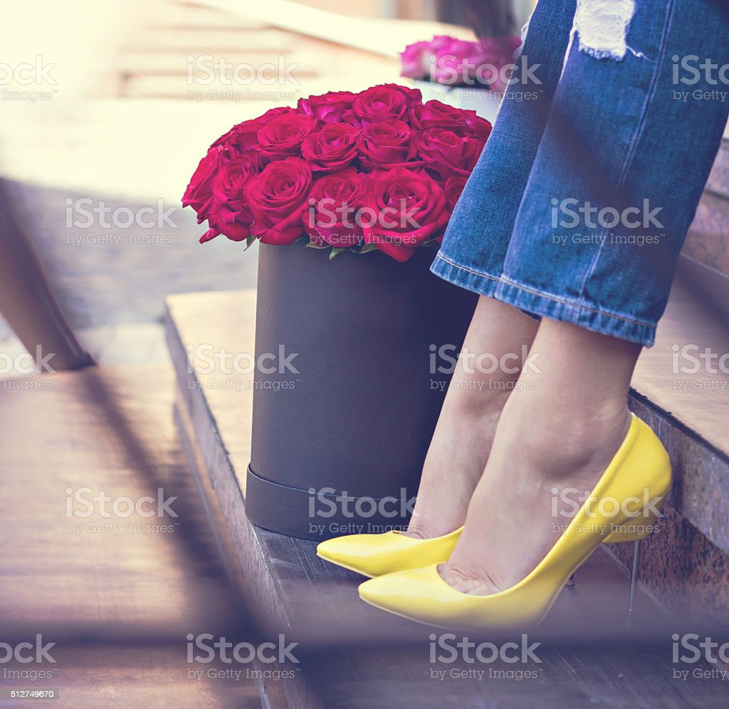 Bouquet of red roses in a box stock photo