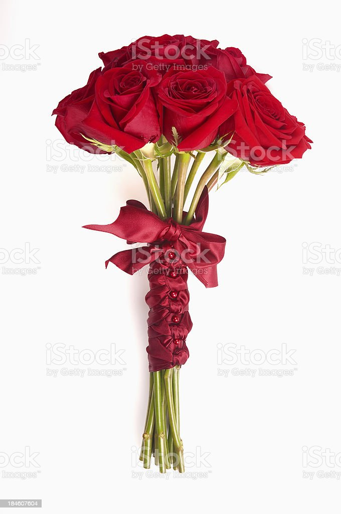 Bouquet of Red Roses Wrapped in Ribbon for Valentines Day stock photo
