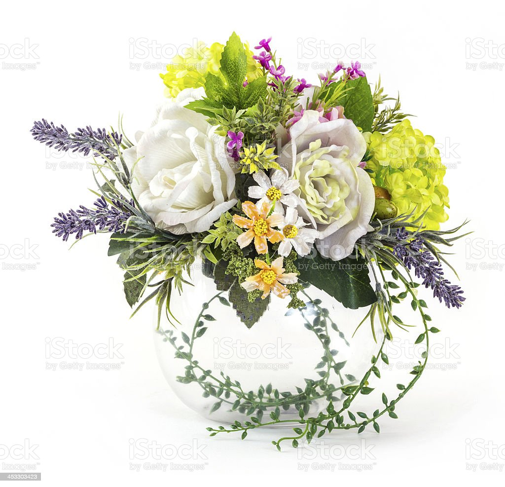 Bouquet of rose and hydrangea in glass vase royalty-free stock photo