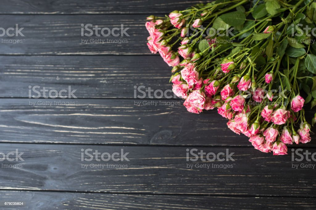 Bouquet of rose roses on a dark background stock photo