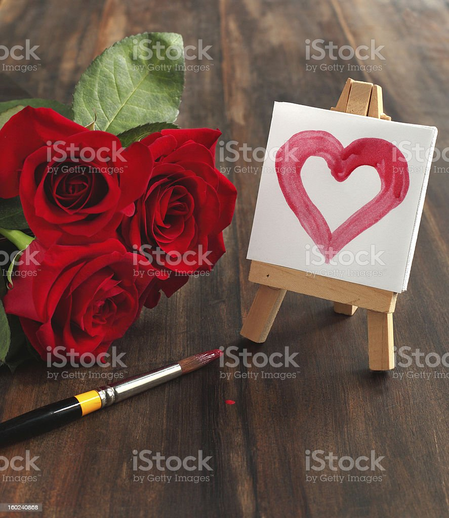 Bouquet of roses and painted heart royalty-free stock photo