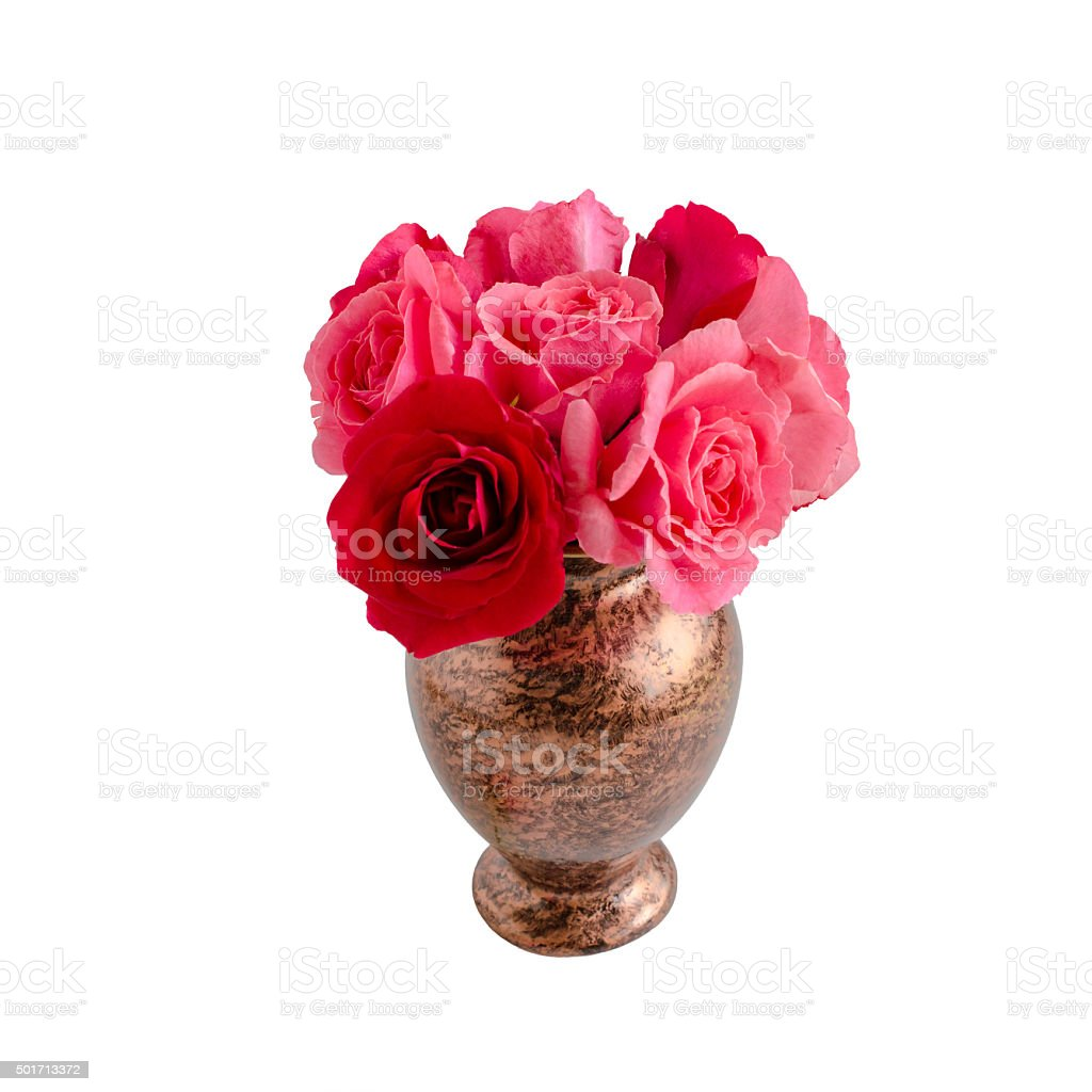 bouquet of roses are on  white background stock photo