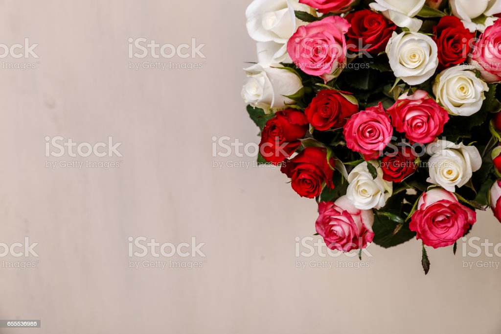Bouquet of roses background. Wedding flowers. stock photo
