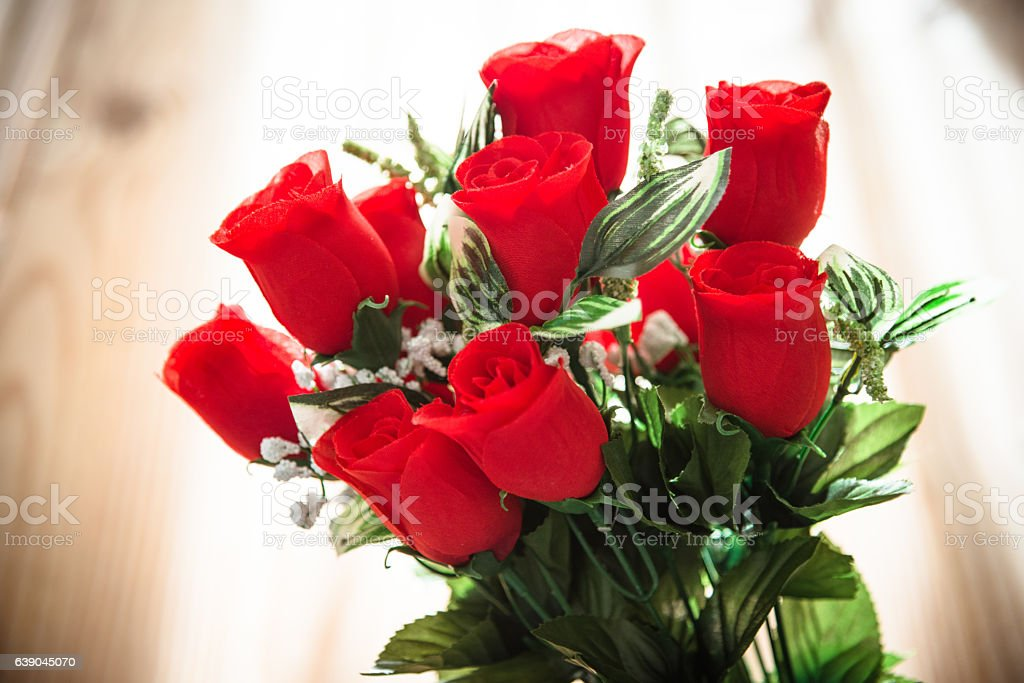 bouquet of roses for st. valentine stock photo