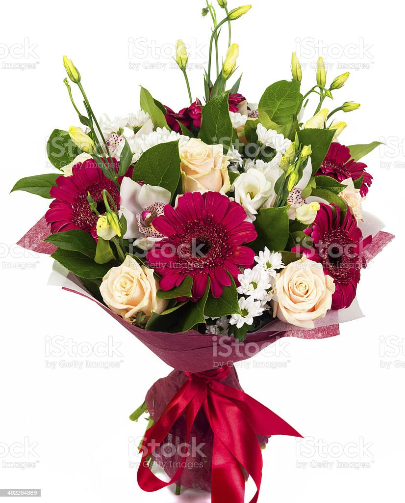 Bouquet of roses, gerberas and orchids stock photo