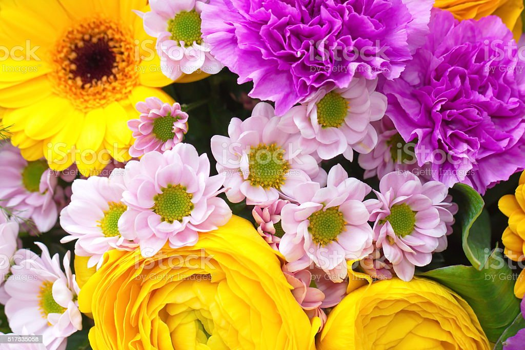 Bouquet of spring beautiful flowers stock photo