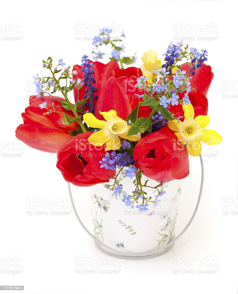 Bouquet of spring flowers on white background royalty-free stock photo