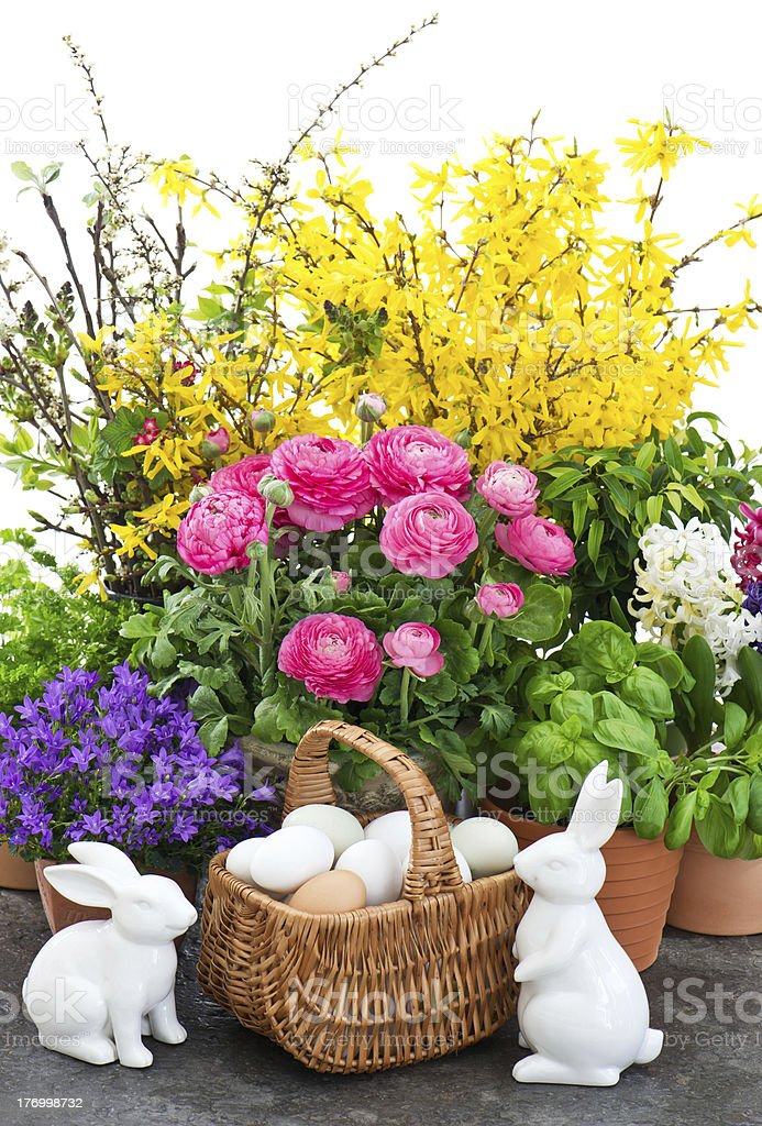 bouquet of spring flowers with easter decoration royalty-free stock photo