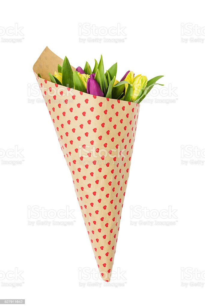 Bouquet Of Spring Flowers Wrapped In Paper With Hearts Isolated ...