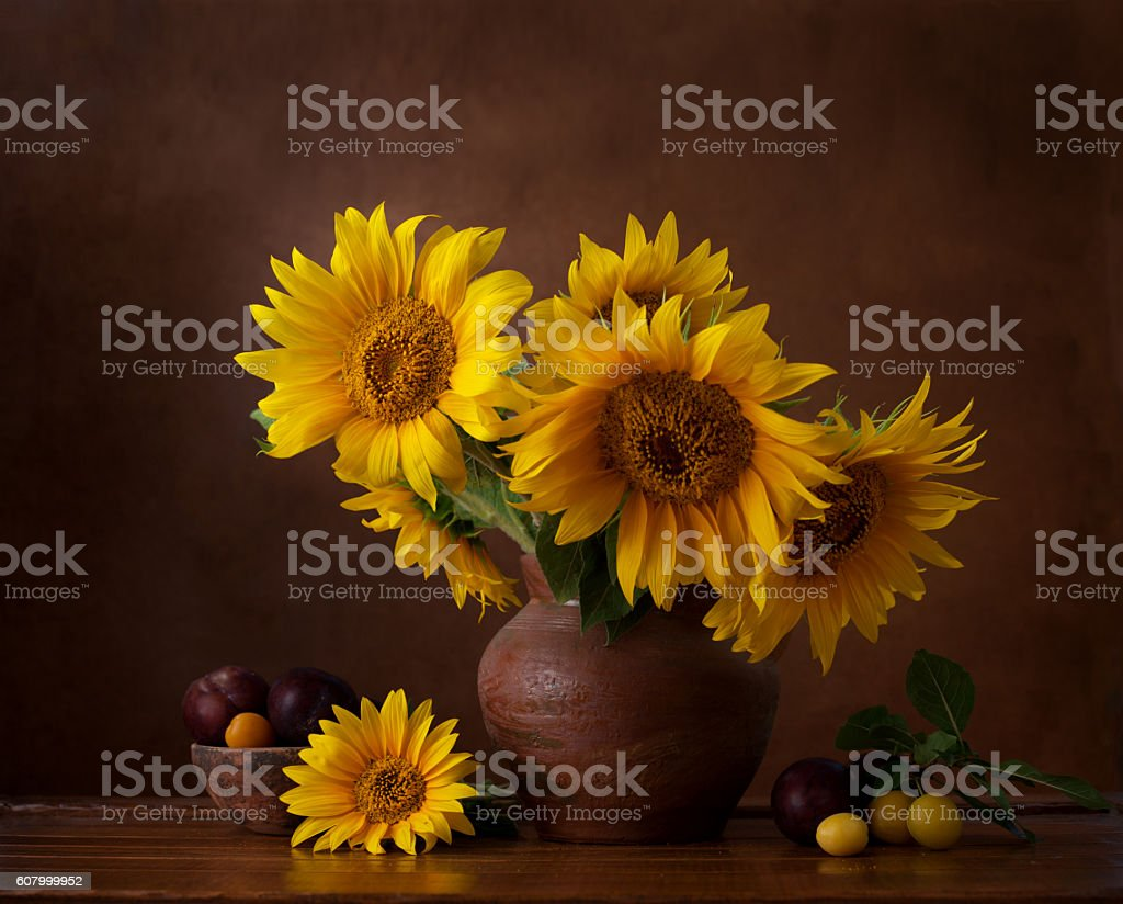 Bouquet of sunflowers in old clay jug. stock photo