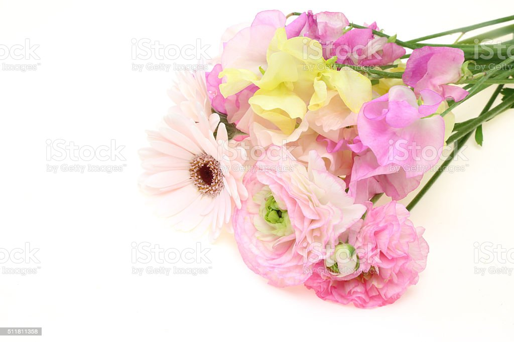 Bouquet of sweetpea ,persian buttercup and transvaal daisy stock photo