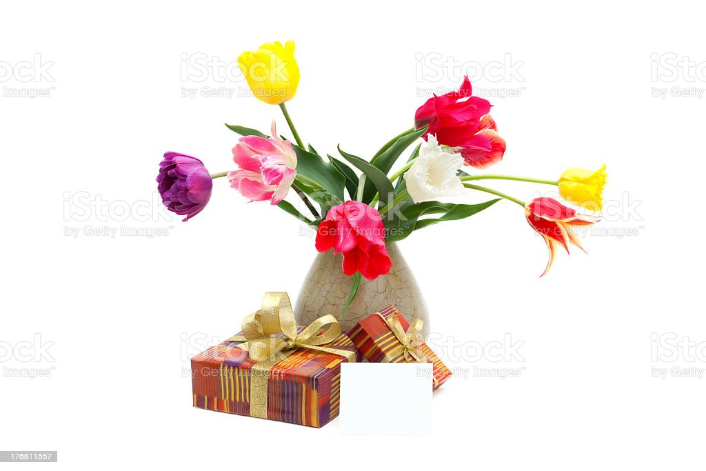 bouquet of tulips in a vase, gifts and greeting card royalty-free stock photo