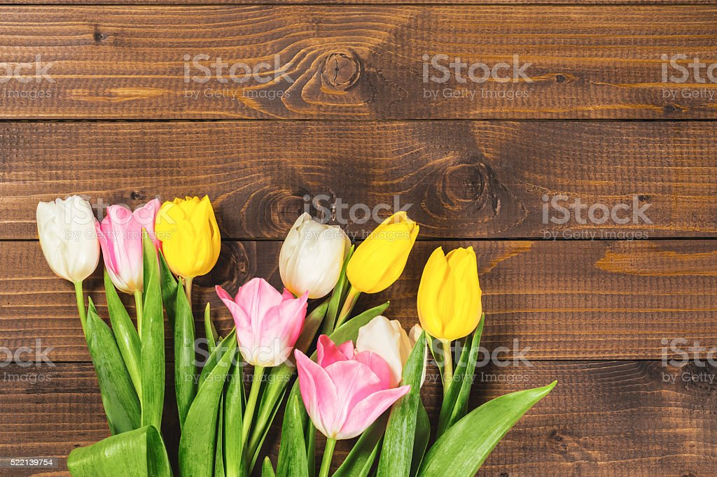 Bouquet Of Tulips In Front stock photo