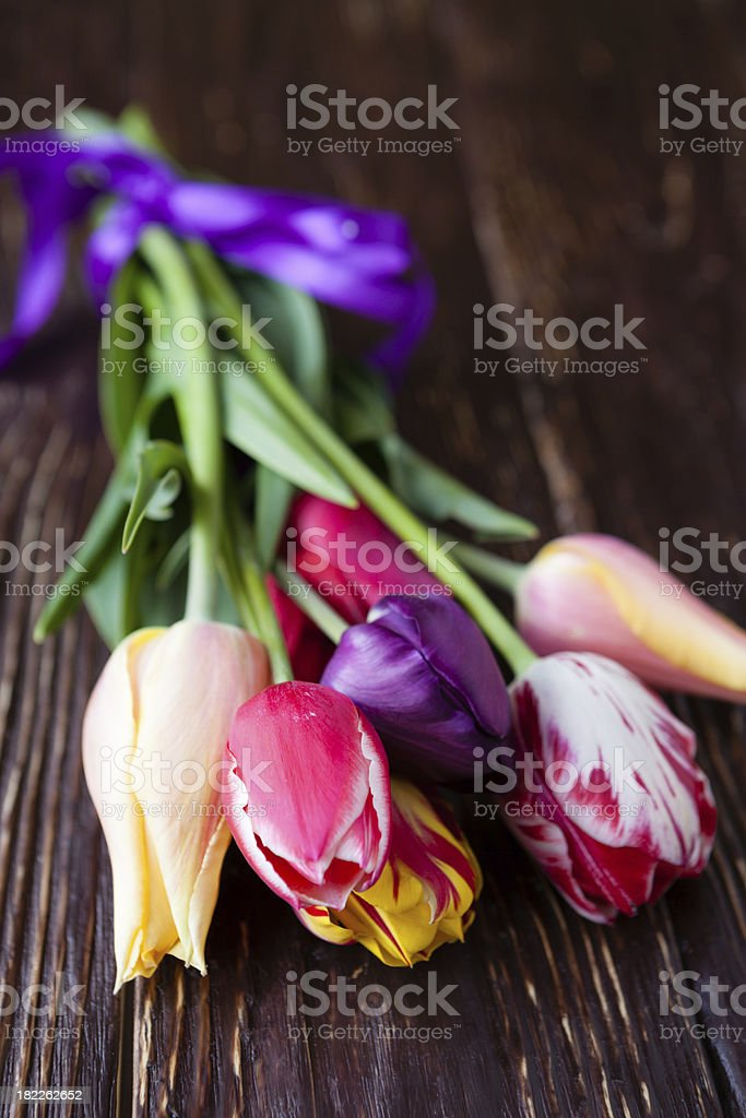 bouquet of tulips on the dark boards royalty-free stock photo