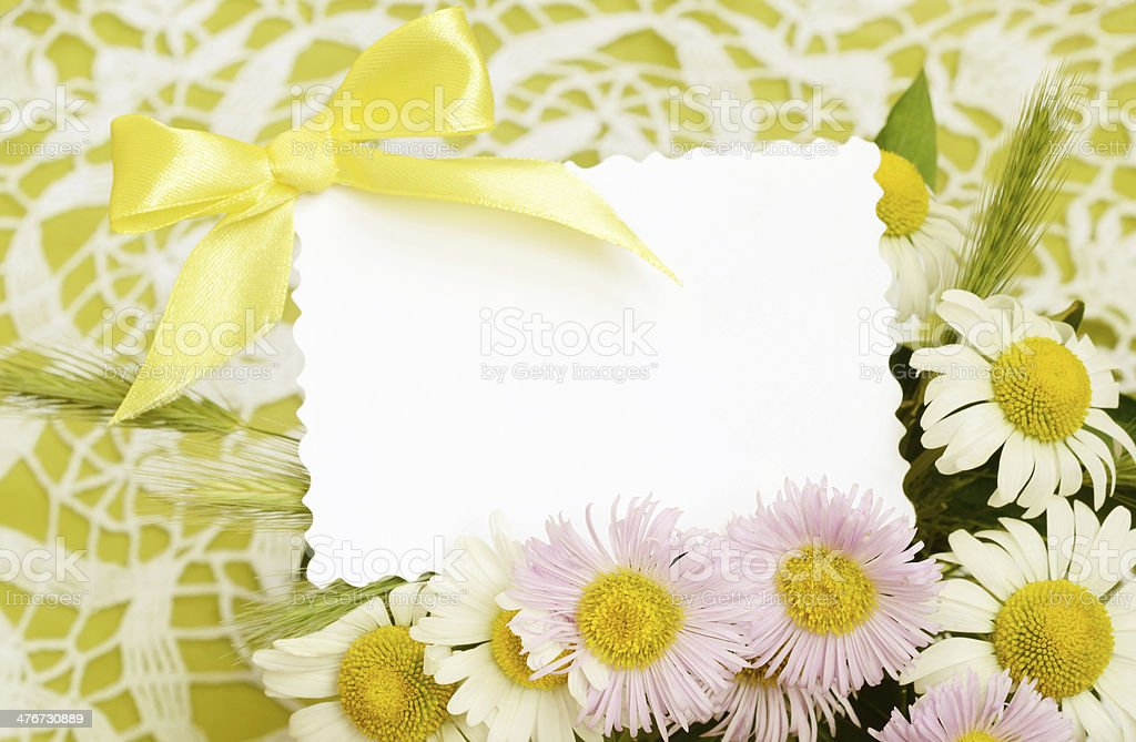 Bouquet of white and pink daisies with a card royalty-free stock photo