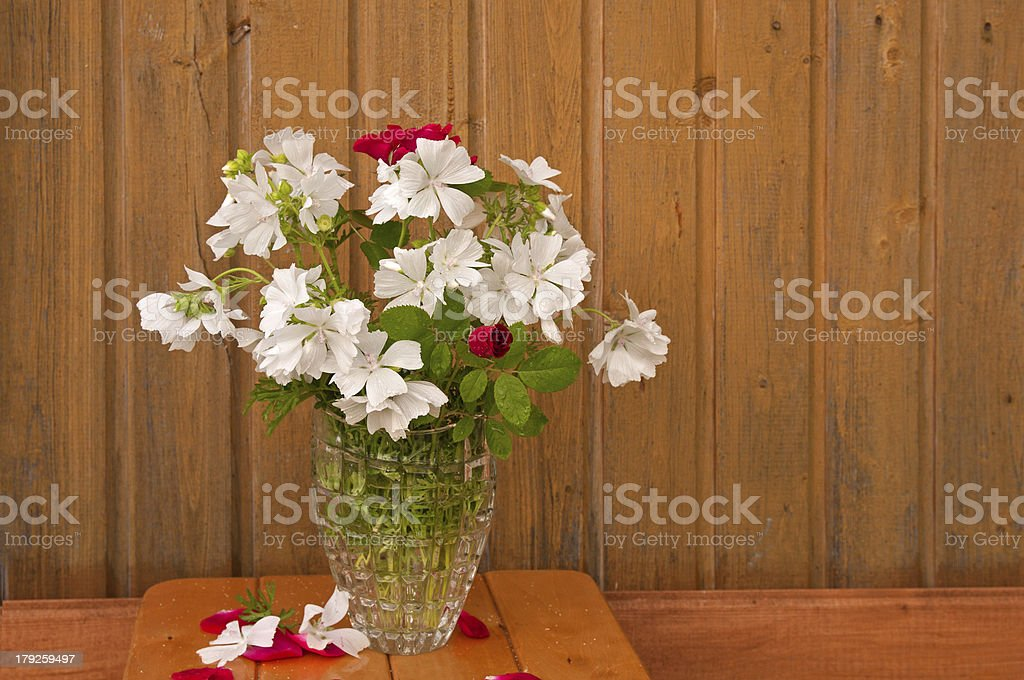 bouquet of white flowers and red roses royalty-free stock photo